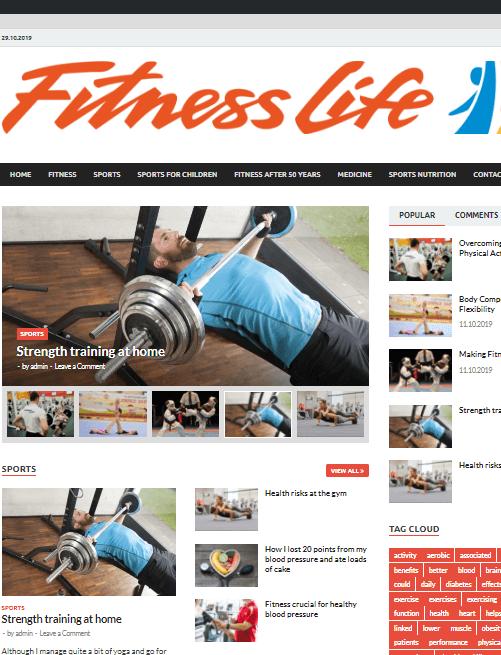 Многостраничный сайт на английском языке про спорт фитнес. WordPress. №510.